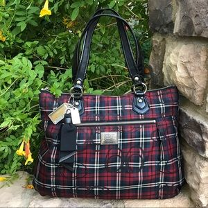 Coach Poppy plaid Glam Tote